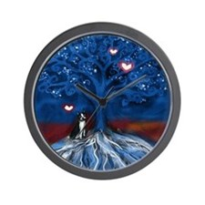 Boston Terrier love night glowing hearts tree Wall