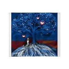 Boston Terrier love night glowing hearts tree Thro