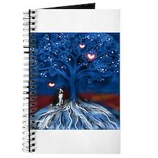 Boston Terrier love night glowing hearts tree Jour