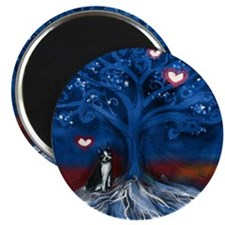 Boston Terrier love night glowing hearts tree Magn