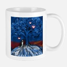 Boston Terrier love night glowing hearts tree Mug