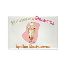 Stressed is Desserts Backward Rectangle Magnet