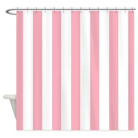 Pink And White Striped Shower Curtain By MainstreetHomewares