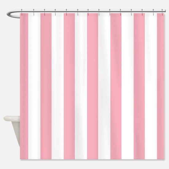Pink And White Striped Shower Curtain