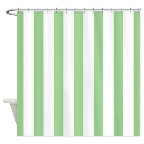 Green And White Striped Shower Curtain By Mainstreethomewares