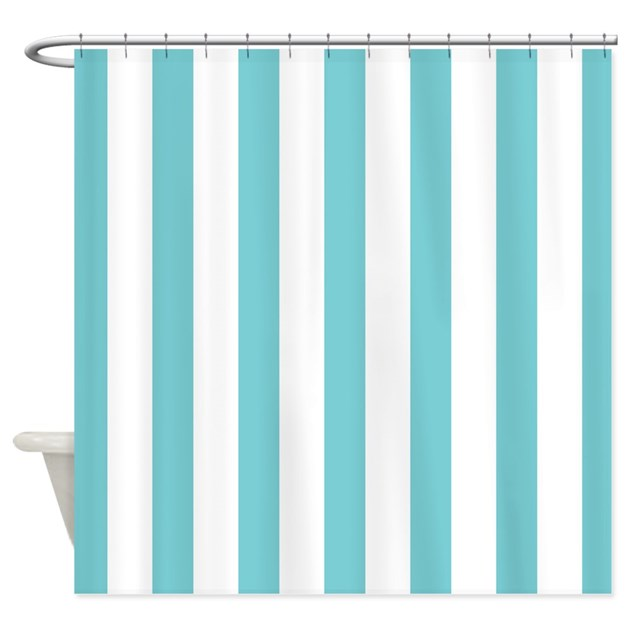 Turquoise And White Striped Shower Curtain By