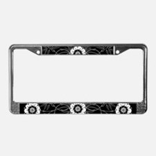 Black And White Flowers Motif License Plate Frame