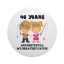 46th Anniversary Mens Fishing Ornament (Round)