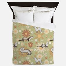 Ferrets and Flowers Queen Duvet