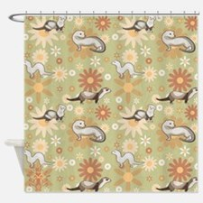 Ferrets and Flowers Shower Curtain