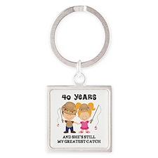 40th Anniversary Mens Fishing Square Keychain