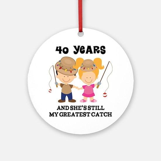 40th Anniversary Mens Fishing Ornament (Round)