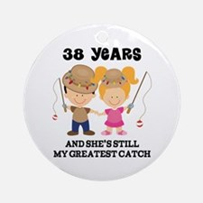 38th Anniversary Mens Fishing Ornament (Round)