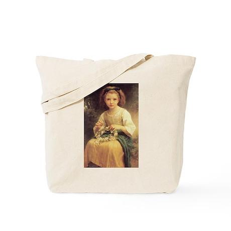 Child Braiding Flower Crown B Tote Bag