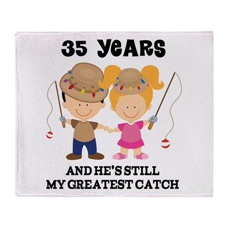 35th Anniversary Hes Greatest Catch Throw Blanket