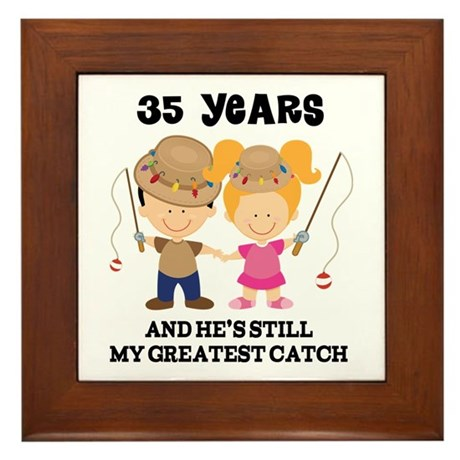 35th Anniversary Hes Greatest Catch Framed Tile