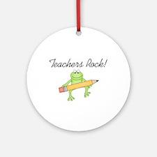 Frog Teachers Rock Ornament (Round)