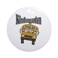 School Bus Kindergarten Ornament (Round)