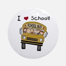 I Love School Ornament (Round)