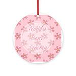 Pink World's Best Teacher Ornament (Round)