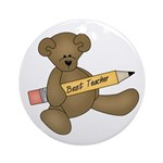 Teddy Bear Best Teacher Ornament (Round)