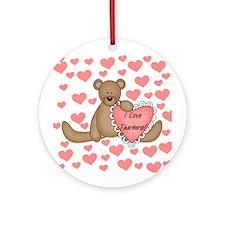 I Love Teachers Keepsake Ornament (Round)
