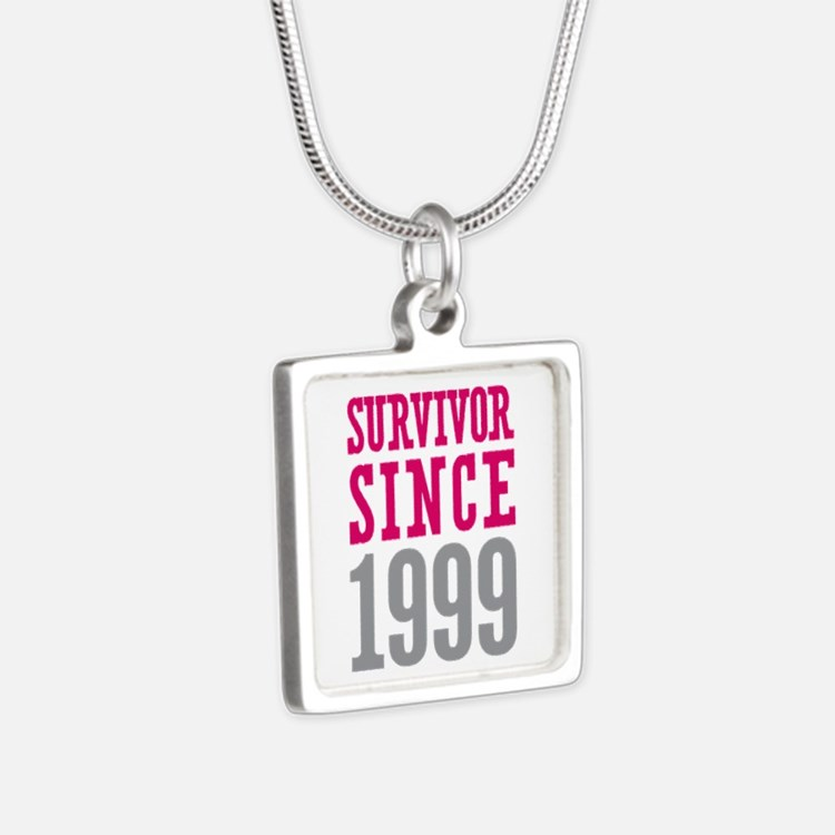 Survivor Since 1999 Silver Square Necklace