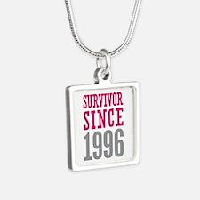 Survivor Since 1996 Silver Square Necklace