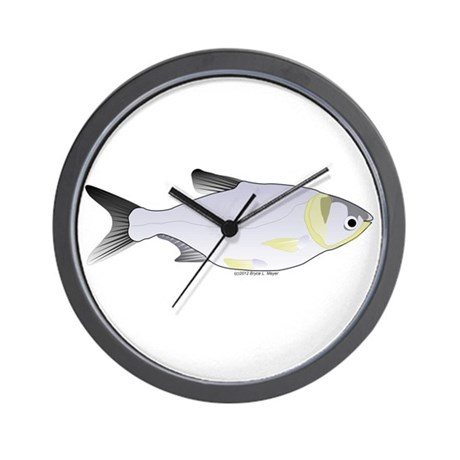 Silver carp asian carp fish wall clock by for Fish wall clock