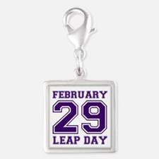 LEAP DAY Silver Square Charm