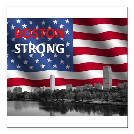 """Boston Strong Square Car Magnet 3"""" x 3"""""""