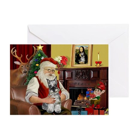 Santa's Mini Schnauzer Greeting Cards (Pk of 10)