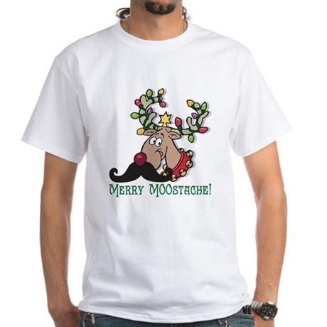 Merry Moostache White T-Shirt