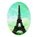 Eiffel tower christmas cards Oval Ornaments