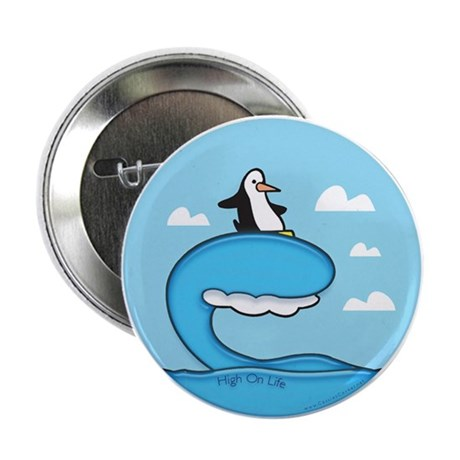 """High On Life Penguin Surfer 2.25"""" Button (100 pack"""