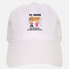 34th Anniversary Hes Greatest Catch Baseball Baseball Cap