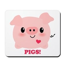 Kawaii I Love Pigs Mousepad