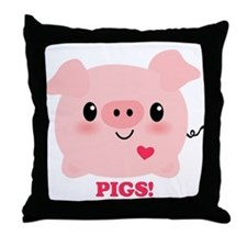 Kawaii I Love Pigs Throw Pillow