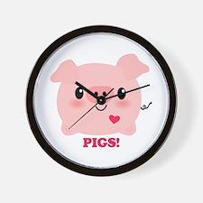 Kawaii I Love Pigs Wall Clock