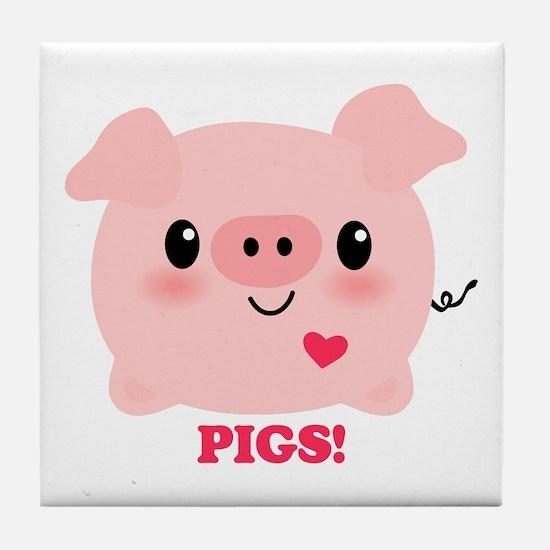 Kawaii I Love Pigs Tile Coaster