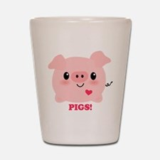 Kawaii I Love Pigs Shot Glass