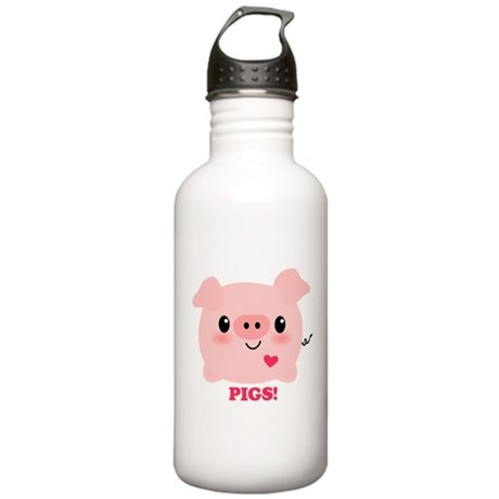 Kawaii I Love Pigs Stainless Water Bottle 1.0L