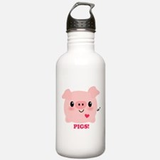 Kawaii I Love Pigs Water Bottle