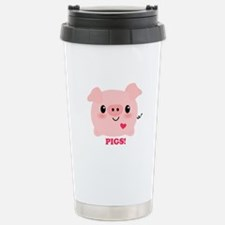 Kawaii I Love Pigs Stainless Steel Travel Mug