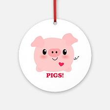 Kawaii I Love Pigs Ornament (Round)