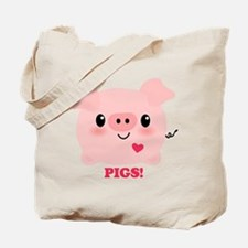 Kawaii I Love Pigs Tote Bag