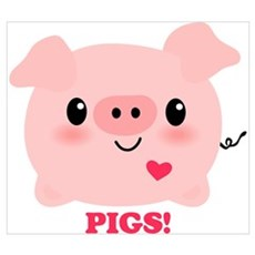 Kawaii I Love Pigs Wall Art Poster