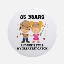 35th Anniversary Mens Fishing Ornament (Round)