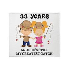 33rd Anniversary Mens Fishing Throw Blanket