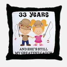 33rd Anniversary Mens Fishing Throw Pillow